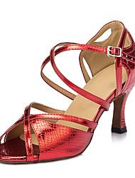 Customizable Women's Dance Shoes Latin Leatherette Stiletto Heel Red