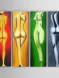 Peint à la main Nu Peintures à l'huile,Modern / Style européen Cinq Panneaux Toile Peinture à l'huile Hang-peint For Décoration