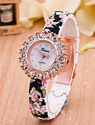 Women's European Style Fashion Printing Flower Rhinestone Stretch Wrist Watches