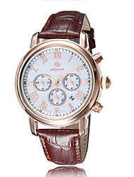 Men's Watch Waterproof Eye ReallyTiming Calendar Quartz Watch Leather Wrist Watch Cool Watch Unique Watch