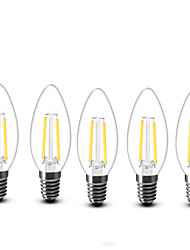 E14 Luci LED a candela C35 2 COB 200 lm Bianco caldo Decorativo AC 220-240 V 5 pezzi