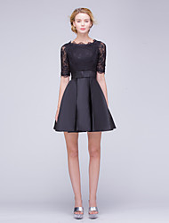 Cocktail Party Dress A-line Bateau Short / Mini Lace / Satin with Bow(s) / Lace / Ruffles / Sash / Ribbon