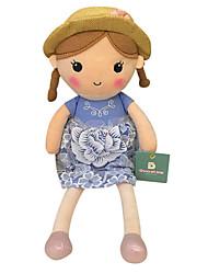 echte Frühlingsmädchen Puppe Plüschspielzeugpuppe Baby-Puppe Puppe Geschenk Mädchen Hut blauen Kleid Sitzhöhe 35 cm zu beschwichtigen