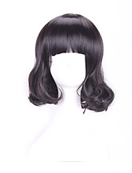 30 Cm Harajuku Cosplay Women Young Short Curly Wavy Ladies Sexy Black Wigs Halloween Costume Peruca