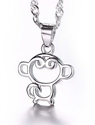Cute Monkey Friendship Necklace 925 Sterling Silver Pendant Water Wave Link Chain Female Hot Silver Jewelry