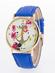 Ladies' Casual Watch Printing Dial PU Strap Anchors