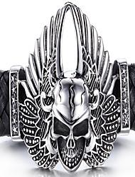 Lederen armbanden 1 stuks,Zwart Armbanden Roestvast staal / Leder Sieraden Heren