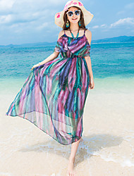 Women's Beach Sexy / Simple Loose Dress,Color Block Strap Maxi Short Sleeve Red / Green Polyester Summer