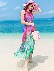 Women's Holiday Simple Loose Dress,Print Round Neck Maxi Sleeveless Red / Purple Polyester Summer