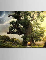 E-HOME® Stretched LED Canvas Print Art Tree House Under The Stars LED Flashing Optical Fiber Print One Pcs