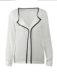 Women's V Neck Shirt , Chiffon Long Sleeve