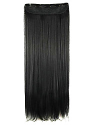 Wig Black 64CM High Temperature Wire Length Straight Hair Synthetic Hair Extension