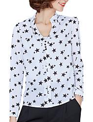 Mulheres Camisa Casual Plus Sizes / Moda de Rua Verão,Geométrica Branco / Preto Poliéster Decote V Manga Longa Média