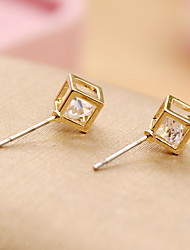Nice 2016 Simple New Design Rhinestone Crystal Square Stud Earrings Piercing Ear Studs for Women Wedding Party Gift