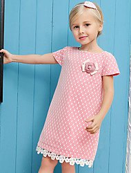 Girl's Pink Dress,Print Cotton / Polyester Summer