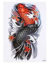 8PCS Black Vortex Fish Carp Picture Design Temporary Tattoo Sticker Waterproof Women Men Body Arm Back Art Tattoo