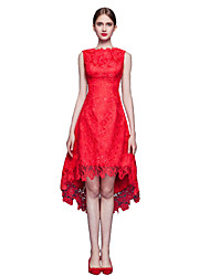 Cocktail Party Dress A-line Jewel Asymmetrical Lace with Lace