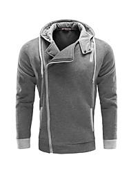 Men's Fashion Personality Side Zipper Hooded Cardigan Sweatshirt, Cotton/Polyester/Zipper