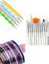 15pcs nail art tekening pen met 5pcs puntjes pen met 12st striping tape lijn spijker streep tape nagel sets