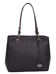 DAVIDJONES/Women PU Shopper Shoulder Bag / Tote-White / Black