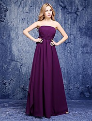 Floor-length Chiffon Bridesmaid Dress - A-line Strapless with