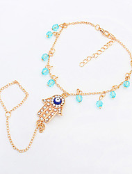 Women's European Style Simple Fashion Trend Rhinestone Eyes Shiny Palm Anklet with Ring
