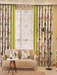 Two Panels European Country Patchwork Polyester Curtain Draps Floral Pattern