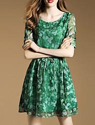 De las mujeres Línea A Vestido Simple Estampado Mini Escote Redondo Seda