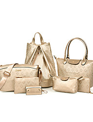Women PU Formal / Casual / Office & Career / Shopping Backpack / Bag Sets Beige / Blue / Gold / Black