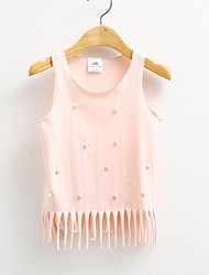 Children's Clothes Summer 2016 Kids Girls Vest Solid Pearl Bowknot Pink White Black Princess Dress