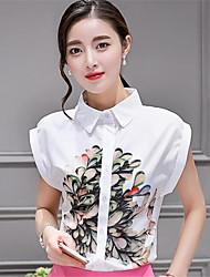 Women's Print White Shirt,Shirt Collar Short Sleeve
