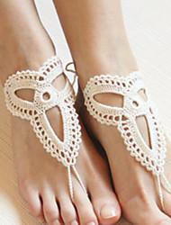 Cadeia de tornozelo das mulheres crochê moda pulseira de algodão yoga descalços sandálias