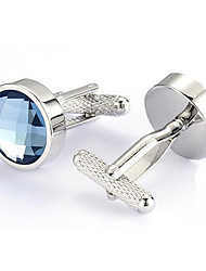 Men's Fashion Blue Crystal Silver Alloy French Shirt Cufflinks (1-Pair)