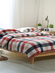 Red and blue plaid Washed Cotton Bedding Sets Queen King Size Bedlinens 4pcs Duvet Cover Set