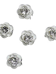10pcs Giltter Rhinestones White Rose Flower 3D Alloy Nail Art Decoration