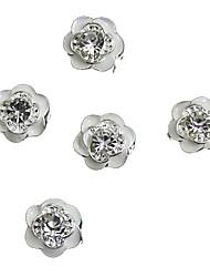 10pcs giltter Strass weiße Rose Blume 3d Legierung Nagelkunstdekoration