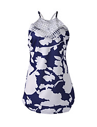 Women's Print Blue/White Jumpsuit,Bodycon Halter Sleeveless Lace Embellished