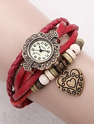 Women's Dress Watch Fashion Watch Bracelet Watch Japanese Quartz Leather Genuine Leather Band Vintage Heart shape Flower Bohemian Red Red Strap Watch
