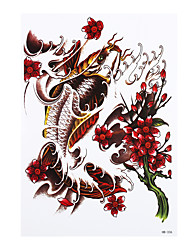 8PCS DIY Temporary Tattoo Sticker for Women Men Gold Fish Flower Picture Design Waterproof Body Art Tattoo