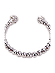 Fine Silver Beads Ball with Crystal Cuff Bangle Bracelet
