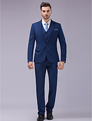 Suits Slim Fit Slim Peak Single Breasted One-button 3 Pieces Blue