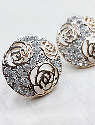 Elegant Style Hollow Rose Full Diamond Circular Lady Stud Earrings