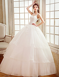 A-line Wedding Dress Floor-length Straps Tulle with Appliques / Beading / Crystal / Pearl