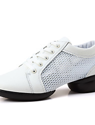 Women's Dance Shoes Sneakers Leather+Net Surface Low Heel Black/White
