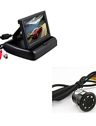 "Car Rear View Backup 8LED Night Vision Camera + 4.3"" TFT Foldable Display Monitor"