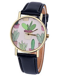 Cactus Plant Collection Watch,Vintage Style Leather Watch,Women Watches,Men's Watch,Summer Green Yellow,Succulent Cool Watches Unique Watches