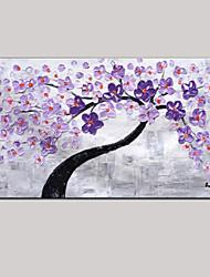 мастихином искусства картина маслом ручной росписью фиолетовый декор стены картины свежий зеленый розовый цветение вишни растянуты кадр