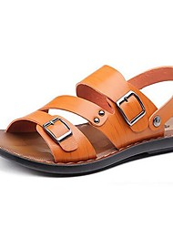 Men's Shoes Outdoor / Office & Career / Work & Duty / Athletic / Casual Nappa Leather Sandals Black