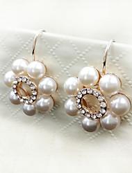 Sweet Style Rose Gold Pearl Diamond Lady Earrings