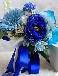 Fleurs de mariage Forme libre Pivoines Bouquets Mariage Satin Env.21cm